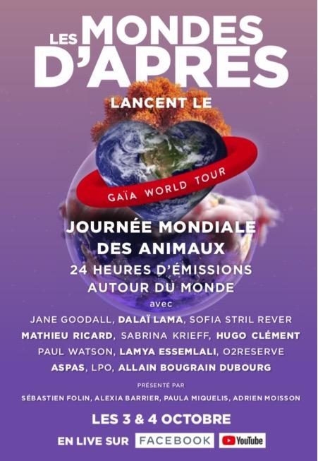 GAIA WORLD TOUR : 24h en ligne pour les animaux et la biodiversité